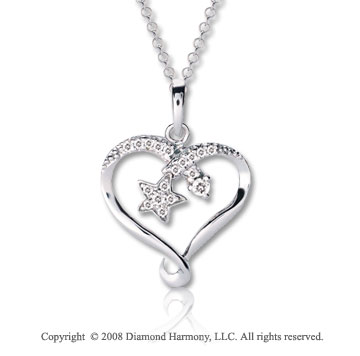 14k White Gold 1/10 Carat Diamond Star inside Heart Necklace
