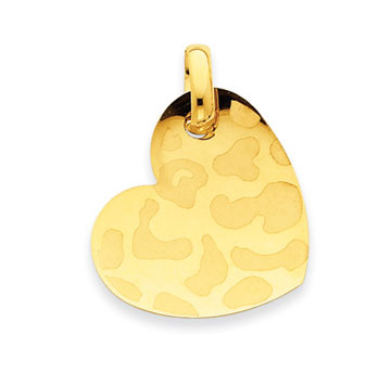14k Yellow Gold Animal Print Heart Pendant