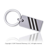 Striped Stylish Black Rubber Stainless Steel Key Ring
