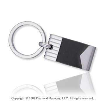 Carved Stylish Black Rubber Stainless Steel Key Ring