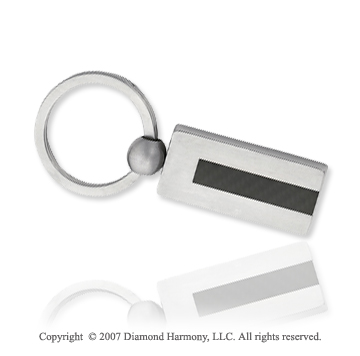 Fashionable Fine Black Rubber Stainless Steel Key Ring