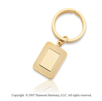 14k Yellow Gold Carved Plain 3/4 inch Men's Key Ring