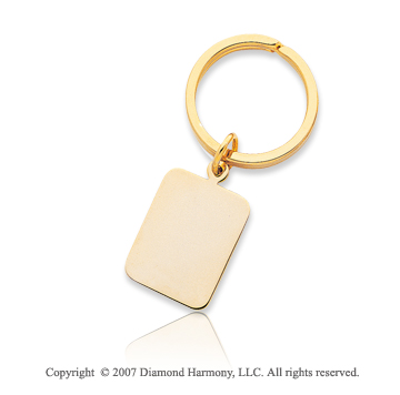 14k Yellow Gold Elegant Plain Rectangle Men's Key Ring