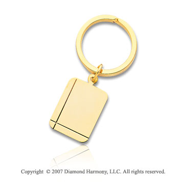 14k Yellow Gold Stylish Carved Two Lines Men's Key Ring