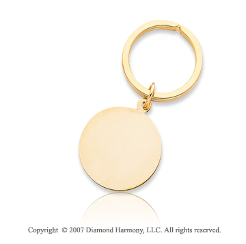 14k Yellow Gold Stylish Plain Circle Men's Key Ring