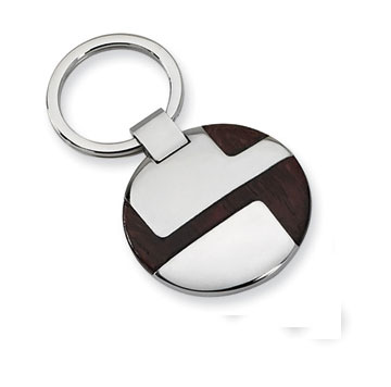Stainless Steel and Wood Key Ring