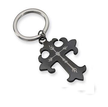 Stainless Steel and Black Plated Cross Key Ring