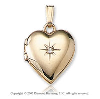 One Point Diamond Tiny Heart 14k Yellow Gold Locket