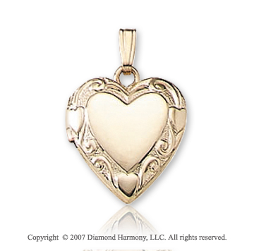 Carved Signet Small Heart 14k Yellow Gold Locket