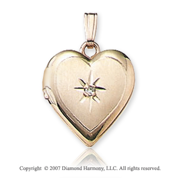 One Point Diamond Small Heart 14k Yellow Gold Locket