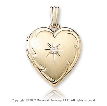 Two Point Diamond Small Heart 14k Yellow Gold Locket