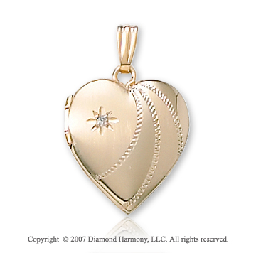 One Point Diamond Rope Heart 14k Yellow Gold Locket