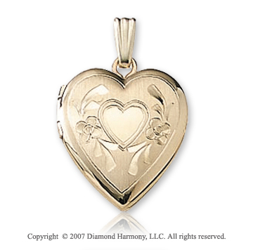 Carved Mini Signet 15mm Heart 14k Yellow Gold Locket