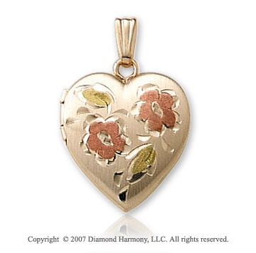 Carved Painted Flower Heart 14k Yellow Gold Locket