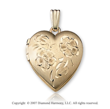 Carved Flower Small Heart 14k Yellow Gold Locket