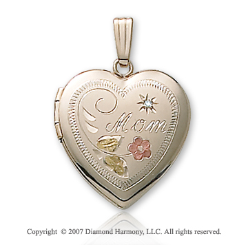 Mom Color Flower Diamond Heart 14k Yellow Gold Locket