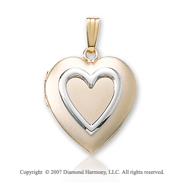 Signet Inner Heart Medium 14k Two Tone Gold Locket