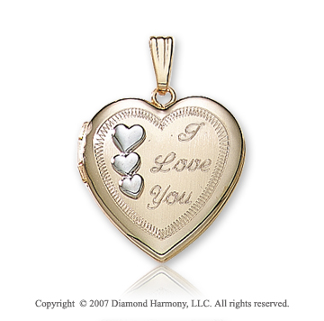Triple Heart 'I Love You' 14K Two Tone Gold Locket