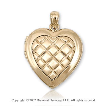 Carved Crisscross 14k Medium Yellow Gold Locket