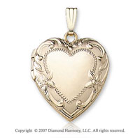Carved Floral Border Signet 14k Yellow Gold Locket