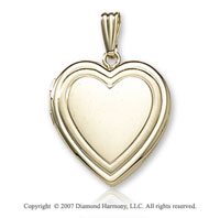 Double Border Plain Signet 14k Yellow Gold Locket