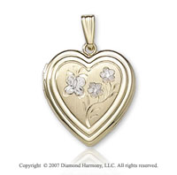 Carved Flowers White Inlay 14k Two Tone Gold Locket