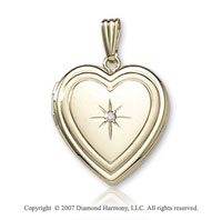 Double Border Center Diamond 14k Yellow Gold Locket