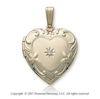 Carved Flower Diamond Heart 14k Yellow Gold Locket
