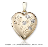 White Flower Butterfly Heart 14k Two Tone Gold Locket
