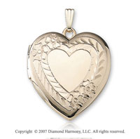Carved Flowers Signet Heart 14k Yellow Gold Locket