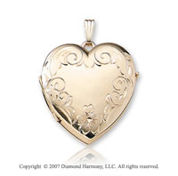 Carved Family Four Fold Signet 14k Yellow Goldold Heart Locket