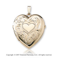 Floral Family Four Fold Signet 14k Yellow Goldold Heart Locket