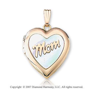 Mom Mother of Pearl Medium 14k Yellow Gold Heart Locket