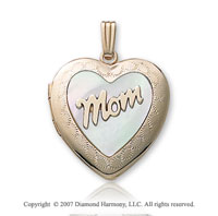 Mom Mother of Pearl Large 14k Yellow Gold Heart Locket