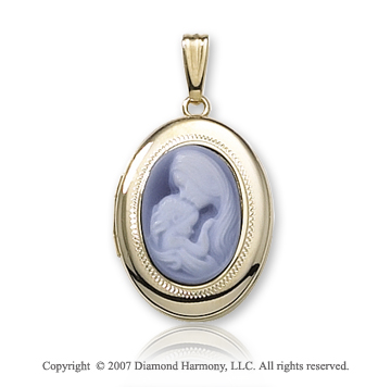 Parent and Child 14k Yellow Gold Small Cameo Locket
