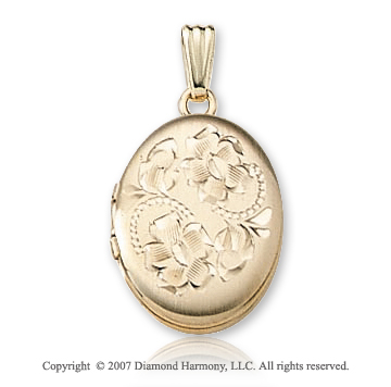 Floral Carved Medium 14k Yellow Gold Oval Locket