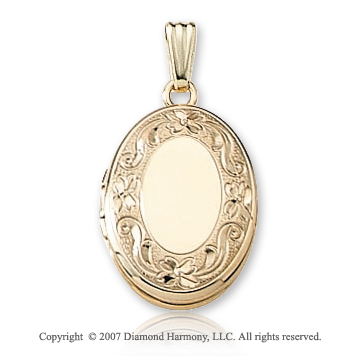 Ornate Floral Carved Signet 14k Yellow Gold Oval Locket