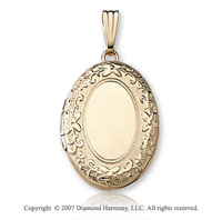 Floral Carved Signet 14k Yellow Gold Medium Oval Locket