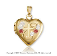 14k Tri Tone Gold Floral Heart Carved Cross Locket