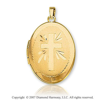 14k Yellow Goldold Elegant Keepsake Oval Carved Cross Locket