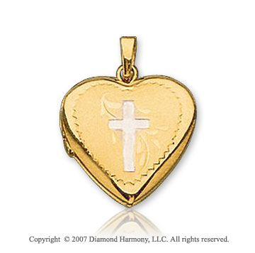 14k Two Tone Gold Stylish Heart Carved Cross Locket