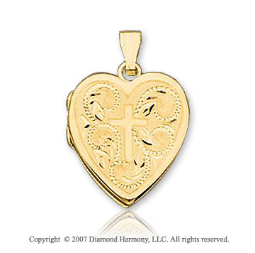 14k Yellow Gold Elegant Style Heart Carved Cross Locket
