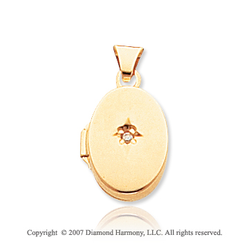 Diamond 14k Yellow Gold Oval Memories Locket