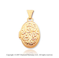 14k Yellow Gold Classic Elegance Carved Oval Locket