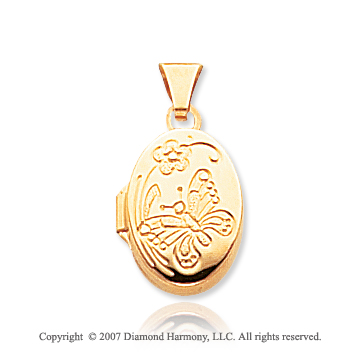 14k Yellow Gold Carved Floral Butterfly Locket