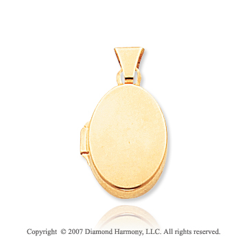 14k Yellow Gold Classic Plain Polished Oval Locket
