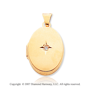 Diamond 14k Yellow Gold Smooth Elegance Oval Locket