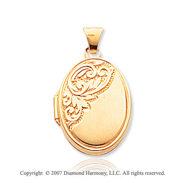 14k Yellow Gold Elegant Carved Oval Locket