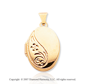 14k Yellow Gold Stylish Carved Polished Oval Locket