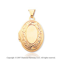 14k Yellow Gold Classic Elegance Signet Oval Locket